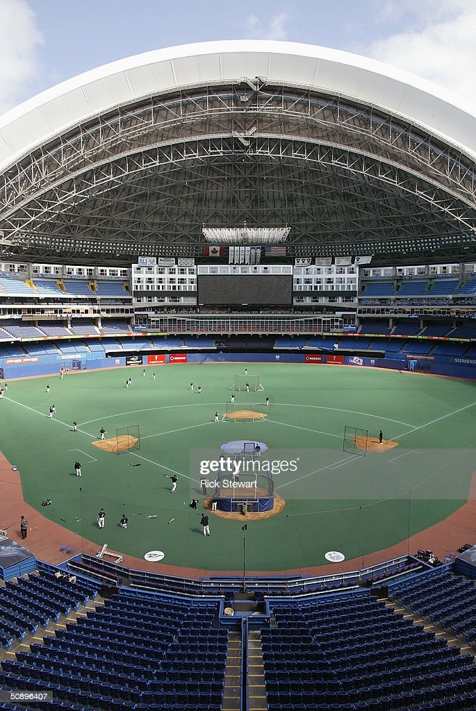 General view of practice for the game between the Boston Red Sox and the Toronto Blue Jays at the Skydome on May 16, 2004 in Toronto, Canada. The Blue Jays won 3-1.