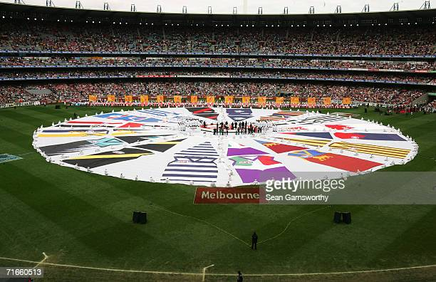 General view of prematch entertainment before the start of the 2005 AFL Grand Final at the Melbourne Cricket Ground September 24 2005 in Melbourne...
