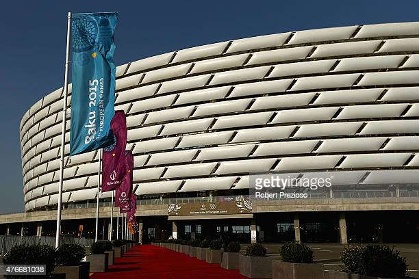 A general view of preparations at the Olympic Stadium ahead of Baku 2015 the first European Games on on June 11 2015 in Baku Azerbaijan