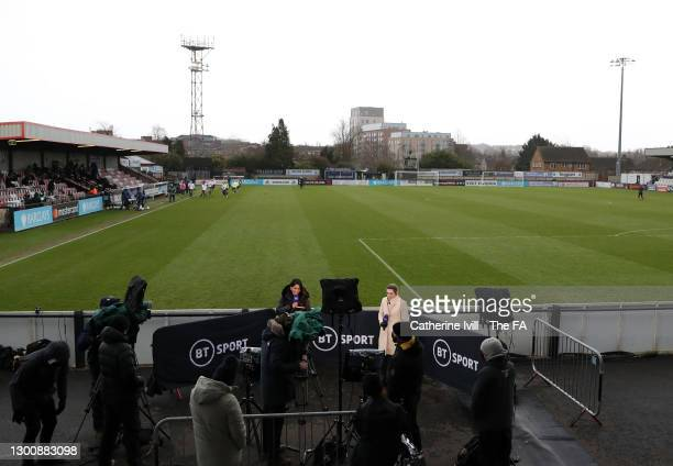 General view of Presenters for BT Sport Reshmin Chowdhury and Karen Carney pitchside ahead of the Barclays FA Women's Super League match between...
