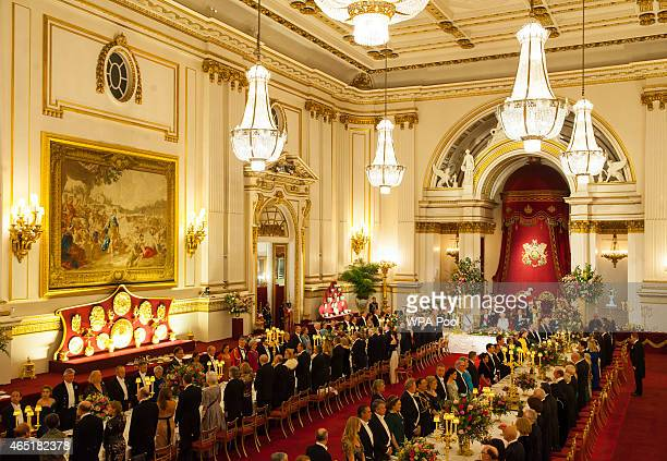 General view of President of Mexico Enrique Pena Nieto and Queen Elizabeth II attending a state banquet at Buckingham Palace on March 3 2015 in...