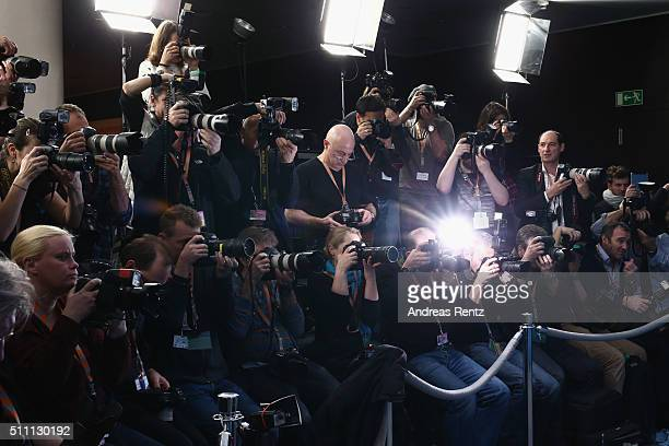 A general view of press photographers during the 66th Berlinale International Film Festival on February 18 2016 in Berlin Germany