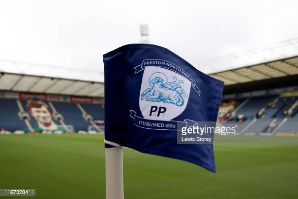 General view of Preston North End logo on a corner flag at Deepdale home of Preston North End prior to the Sky Bet Championship match between Preston...