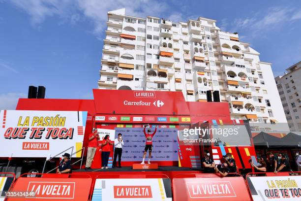 General view of Primoz Roglic of Slovenia and Team Jumbo - Visma celebrates winning the red leader jersey on the podium ceremony after the 76th Tour...