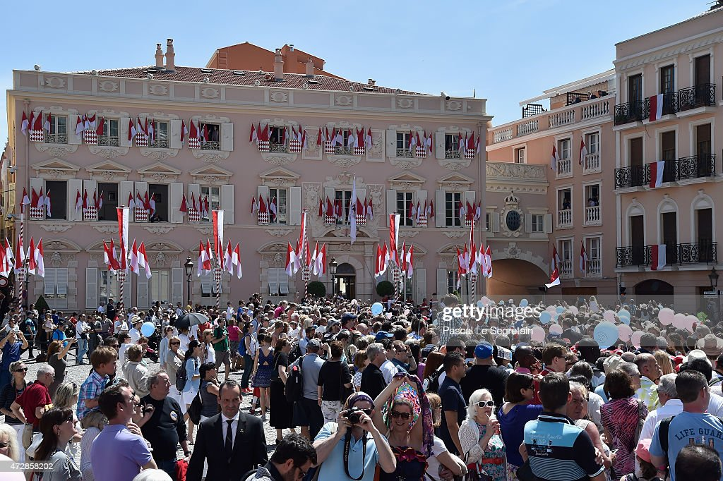 General view of Prince of The Palace Square after the Baptism of Prince Albert and Princess Charlene of Monaco's twins on May 10, 2015 in Monaco, Monaco.
