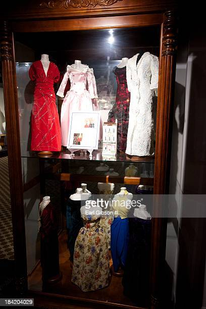 A general view of Princess Diana fashions from 19801995 on display at The Queen Mary on October 11 2013 in Long Beach California