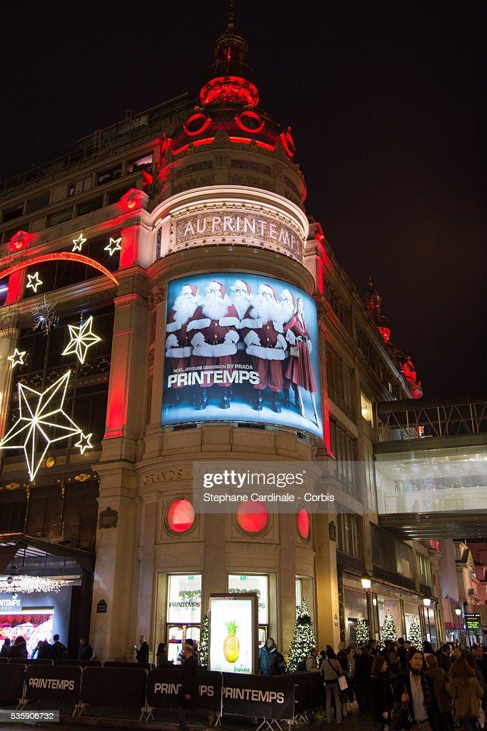 A general view of Printemps Christmas Decorations Inauguration at Printemps Haussmann, in Paris.