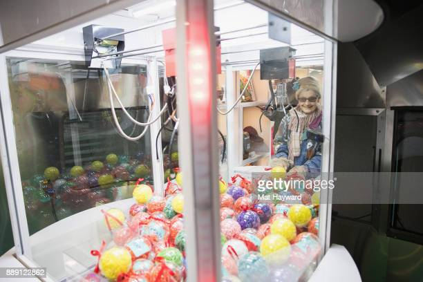 General view of prize balls in the eBay Claw Machine during the 'Did You Check eBay' Holiday Airstream tour at Westlake Center Plaza on December 9...