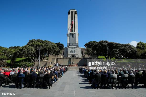 A general view of proceedings during a ceremony to mark the centenary of the Battle of Passchendaele at Pukeahu National War Memorial Park on October...