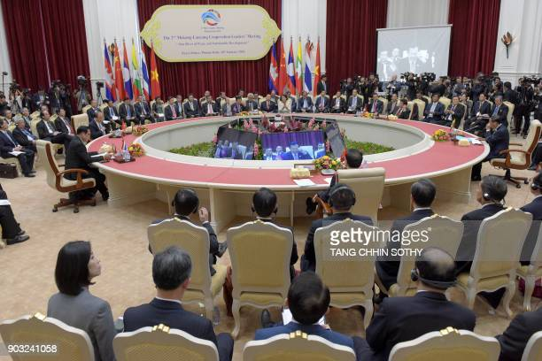 A general view of proceedings during the second MekongLancang cooperation Leaders' meeting at the Peace Palace in Phnom Penh on January 10 2018...
