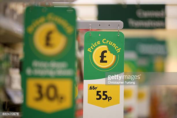 A general view of products and price displays inside Rochdale's Morrisons supermarket on January 23 2017 in Rochdale England Wm Morrison Supermarkets...