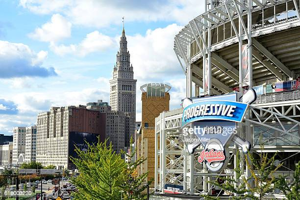 General view of Progressive Field and downtown Cleveland before Game One of the 2016 World Series at Progressive Field on October 25, 2016 in...