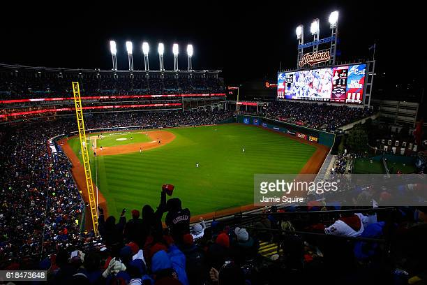 A general view of Progressive Field during the fourth inning in Game Two of the 2016 World Series between the Chicago Cubs and the Cleveland Indians...
