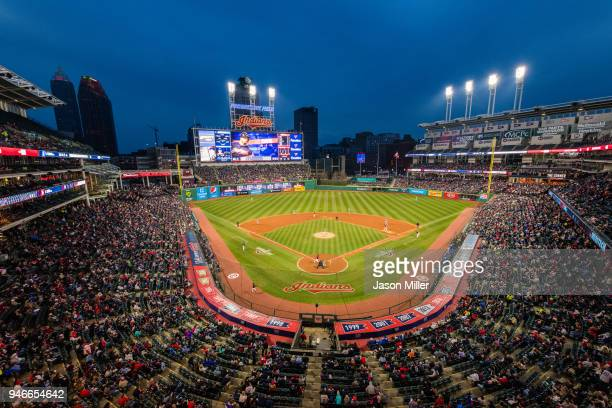 A general view of Progressive Field during the game between the Toronto Blue Jays and the Cleveland Indians on April 13 2018 in Cleveland Ohio The...