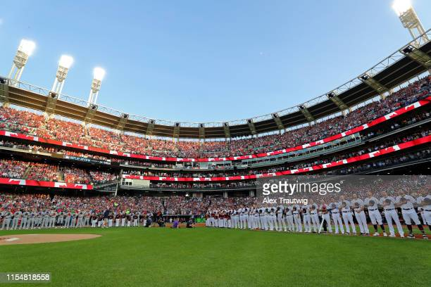 A general view of Progressive field during the pregame ceremony prior to the 90th MLB AllStar Game on Tuesday July 9 2019 in Cleveland Ohio