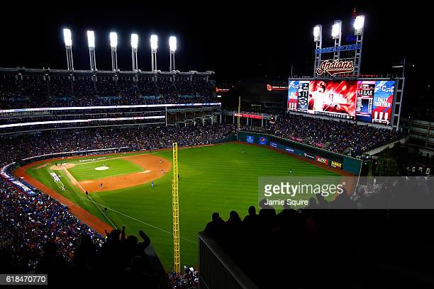 A general view of Progressive Field during the third inning in Game Two of the 2016 World Series between the Chicago Cubs and the Cleveland Indians...