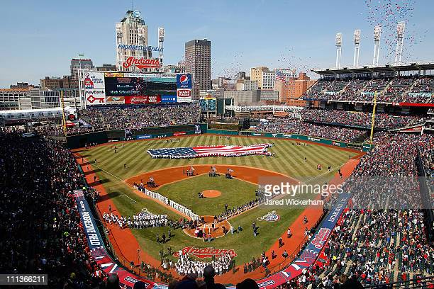 General view of Progressive Field stadium prior to the the Opening Day game between the Cleveland Indians and the Chicago White Sox on April 1, 2011...