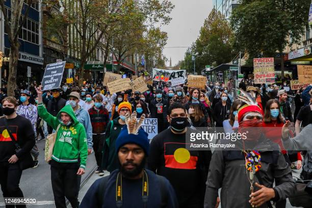 General view of protesters as they march on June 06, 2020 in Melbourne, Australia. Events across Australia have been organised in solidarity with...