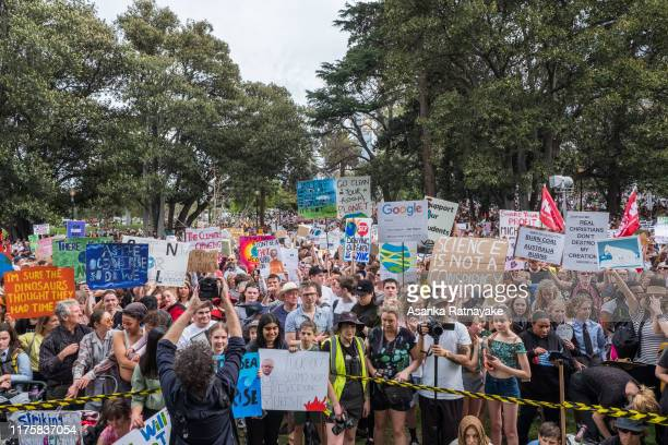 A general view of protesters holding placards on September 20 2019 in Various Cities Australia Rallies held across Australia are part of a global...