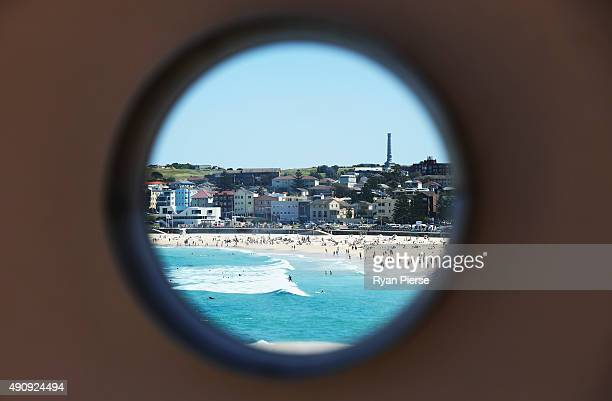 A general view of public on Bondi Beach on October 2 2015 in Sydney Australia The bureau of meteorology predicts temperatures in New South Wales to...