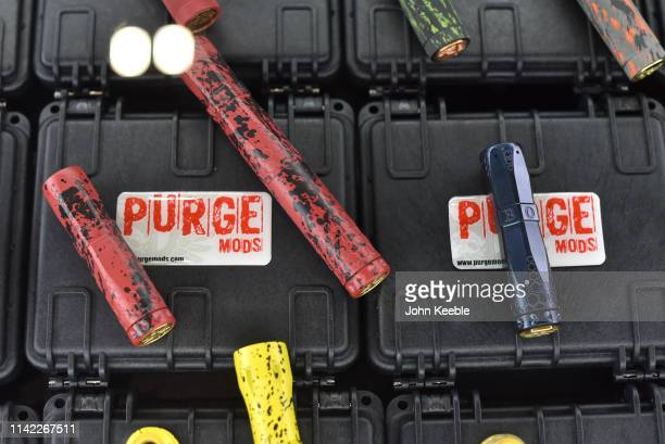 A general view of Purge Mods vapes on display during Vape Jam UK 2019 at ExCel on April 12 2019 in London England Vape Jam UK the premier Electronic...
