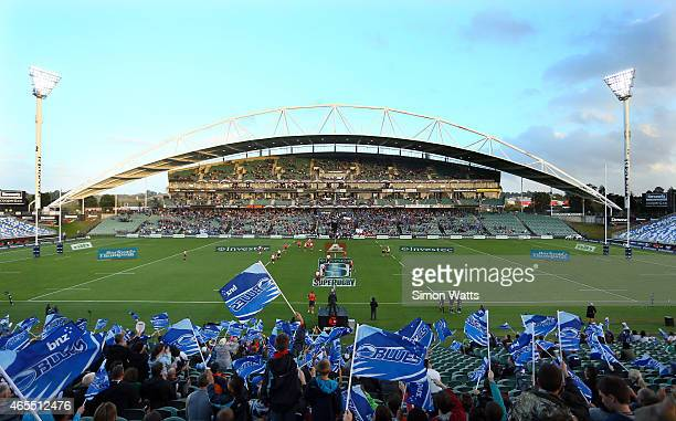 A general view of QBE stadium during the round four Super Rugby match between the Blues and the Lions at QBE Stadium on March 7 2015 in Auckland New...