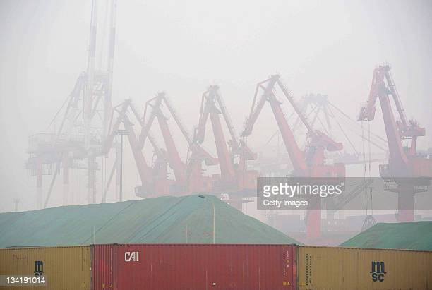 A general view of Qingdao Port in heavy fog on November 28 2011 in Qingdao ChinaDense fog hit north and east China on Sunday and Monday morning...