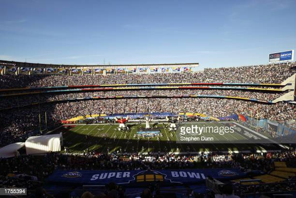 General view of Qualcomm Stadium before the start of Super Bowl XXXVII between the Oakland Raiders and the Tampa Bay Buccaneers on January 26 2003 in...