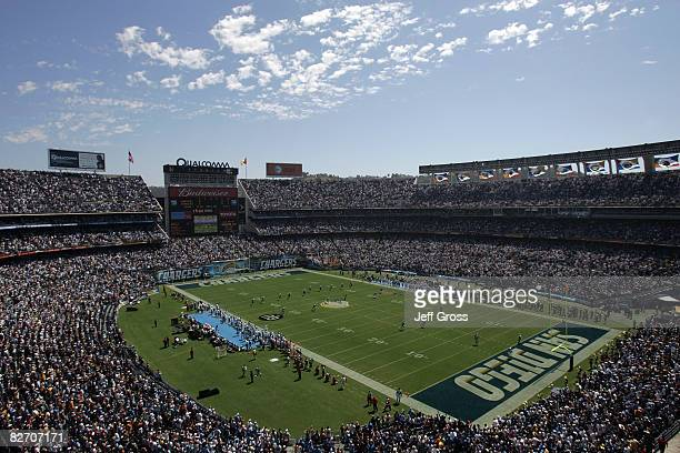 A general view of Qualcomm Stadium during the kickoff of the game between the Carolina Panthers and the San Diego Chargers on September 7 2008 in San...