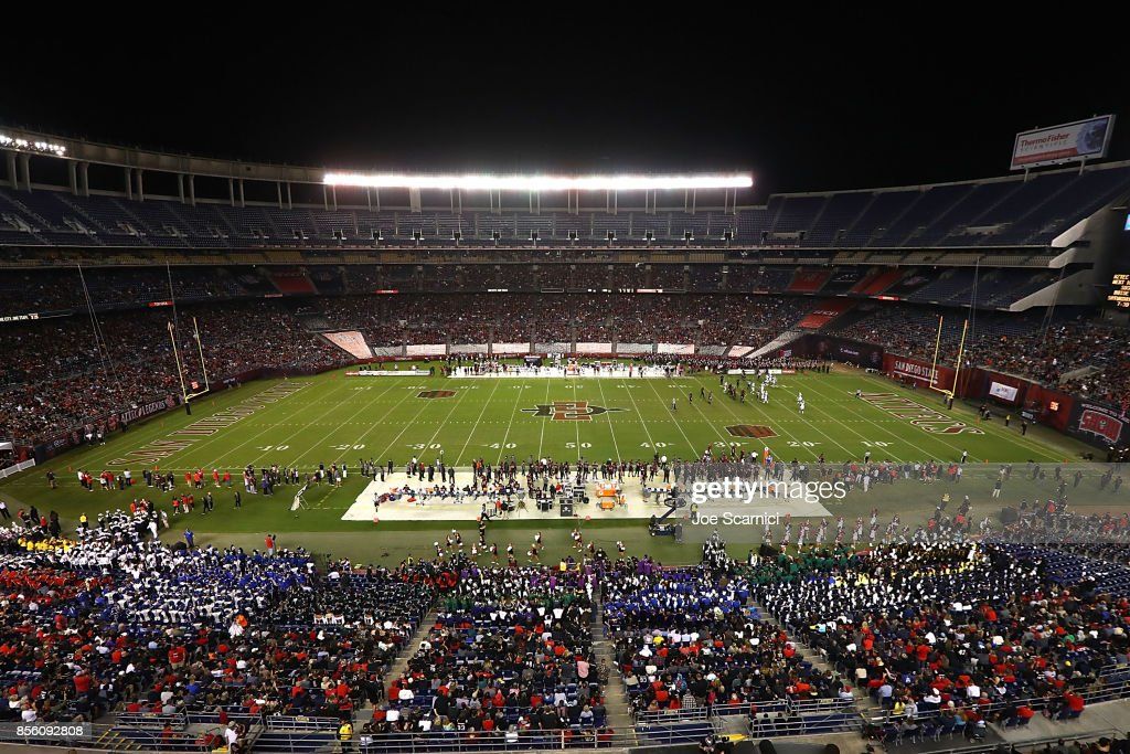 A general view of Qualcomm Stadium during the Northern Illinois v San Diego State game at Qualcomm Stadium on September 30, 2017 in San Diego, California.