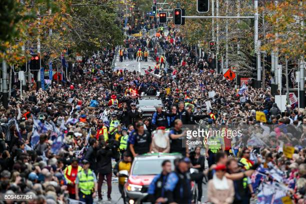 A general view of Queen Street during the Team New Zealand Americas Cup Welcome Home Parade on July 6 2017 in Auckland New Zealand