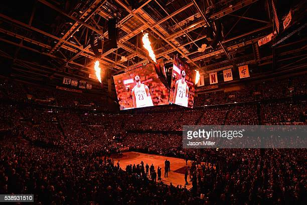 A general view of Quicken Loans Arena prior to Game 3 of the 2016 NBA Finals between the Cleveland Cavaliers and the Golden State Warriors on June 8...