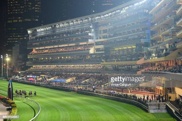 General view of Race 1 during Longines Hong Kong International Jockey Championship night at Happy Valley Racecourse on December 6 2017 in Hong Kong...
