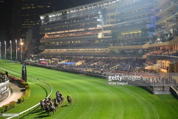 General view of Race 1 during Longines Hong Kong International Jockey Championship night at Happy Valley Racecourse on December 6 2017 in Hong Kong...