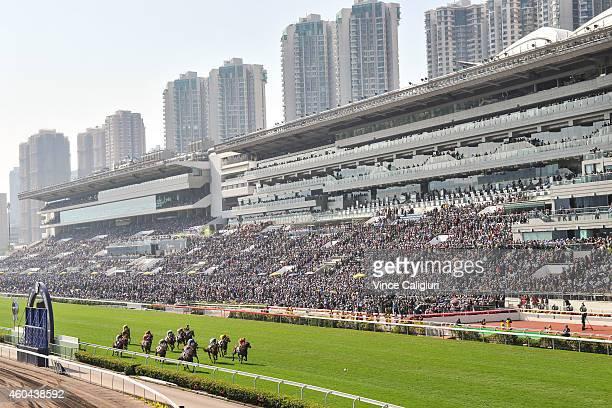 General view of Race 3 during Hong Kong International Race day at Sha Tin racecourse on December 14 2014 in Hong Kong Hong Kong