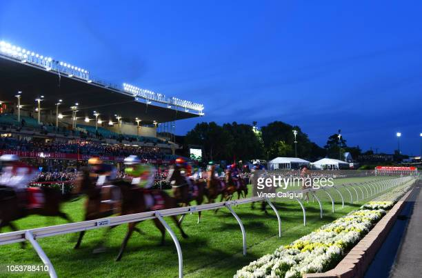 General view of Race 4 MSC Signs Handicap during Manikato Stakes Night at Moonee Valley Racecourse on October 26 2018 in Melbourne Australia