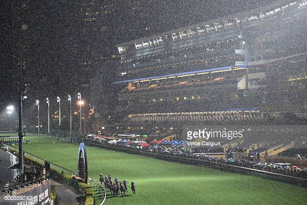 General view of Race 5 in the pouring rain during Longines International Jockey's Championship night at Happy Valley Racecourse on December 9 2015 in...