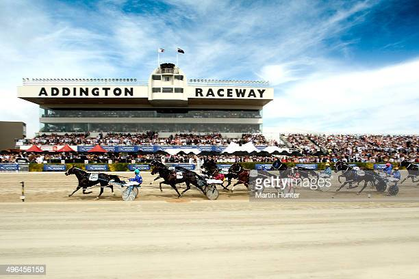 General view of race 7 Sires Stakes Final during the New Zealand Trotting Cup at Addington Raceway on November 10 2015 in Christchurch New Zealand