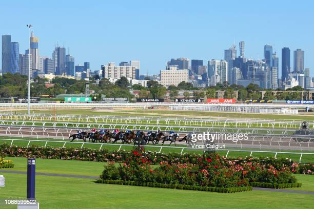 General view of Race 8 Head Wind Handicap during Melbourne racing at Flemington Racecourse on January 01 2019 in Melbourne Australia