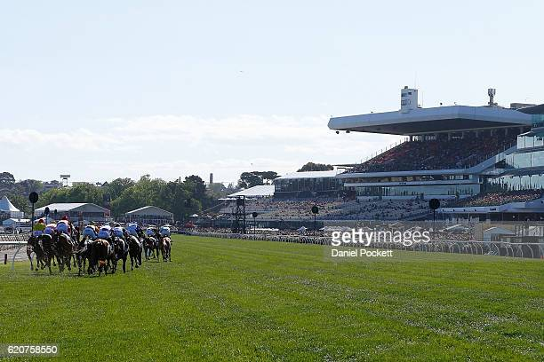 General view of race 8 the Crown Oaks on Oaks Day at Flemington Racecourse on November 3 2016 in Melbourne Australia