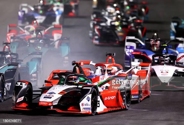 General view of race actio during the ABB FIA Formula E Championship - Diriyah E-Prix at Ad Diriyah on February 26, 2021 in Riyadh, Saudi Arabia.