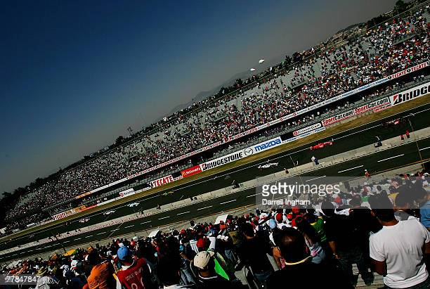 General view of race action during the ChampCar World Series Grand Premio Tecate on November 11 2007 at the Autodromo Hermanos Rodriguez in Mexico...