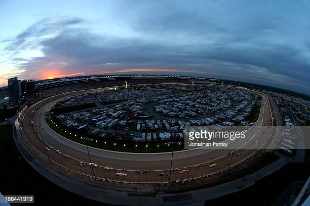 A general view of race action during the NASCAR Nationwide Series O'Reilly Auto Parts 300 at Texas Motor Speedway on April 12 2013 in Fort Worth Texas