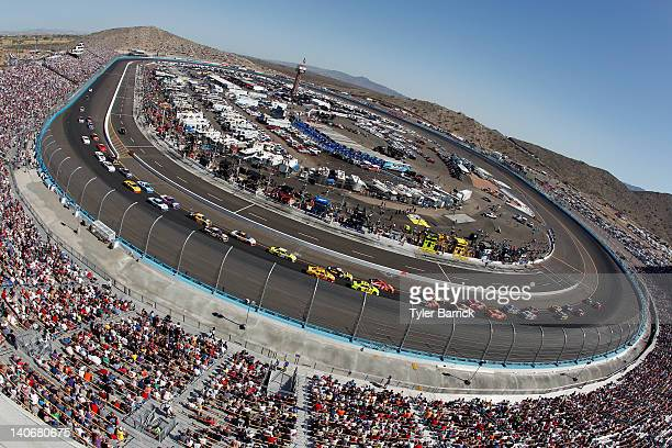A general view of race action during the NASCAR Sprint Cup Series SUBWAY Fresh Fit 500 at Phoenix International Raceway on March 4 2012 in Avondale...