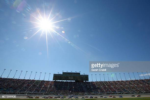 General view of race action during the NASCAR Sprint Cup Series Teenage Mutant Ninja Turtles 400 at Chicagoland Speedway on September 18, 2016 in...