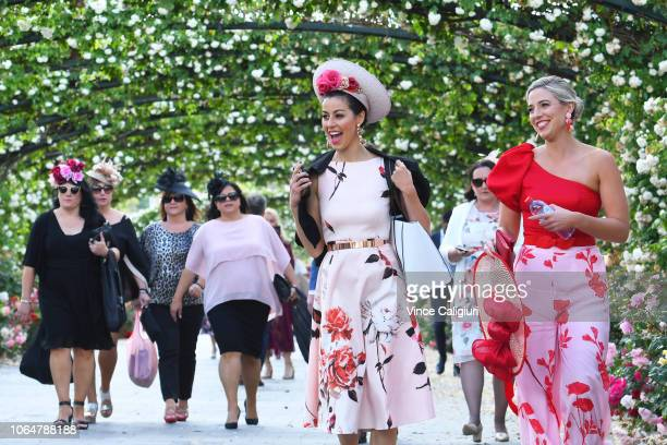 General view of race goers arriving to Oaks Day at Flemington Racecourse on November 08 2018 in Melbourne Australia