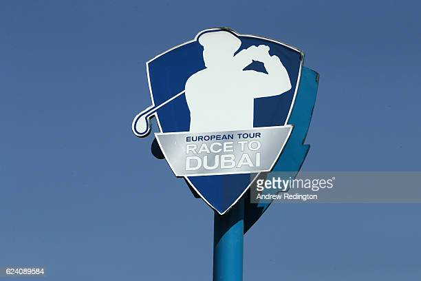 General View of Race to Dubai signage during day two of the DP World Tour Championship at Jumeirah Golf Estates on November 18 2016 in Dubai United...