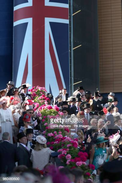 General view of racegoers during day three of Royal Ascot at Ascot Racecourse.