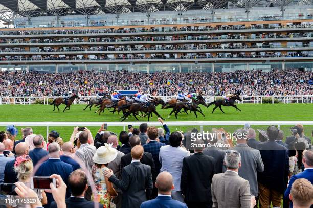 General view of racegoers watching a race from the Village Enclosure on day 3 of Royal Ascot at Ascot Racecourse on June 20, 2019 in Ascot, England.