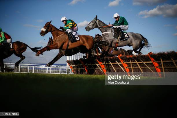 A general view of racing at Ascot Racecourse on February 17 2018 in Ascot England